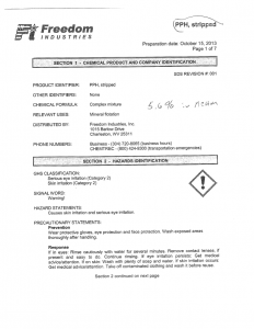 MSDS information sheet for PPH from Freedom Industries - full pdf