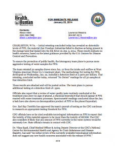Press Release issued by WVDHHR, January 23, 2014- full pdf